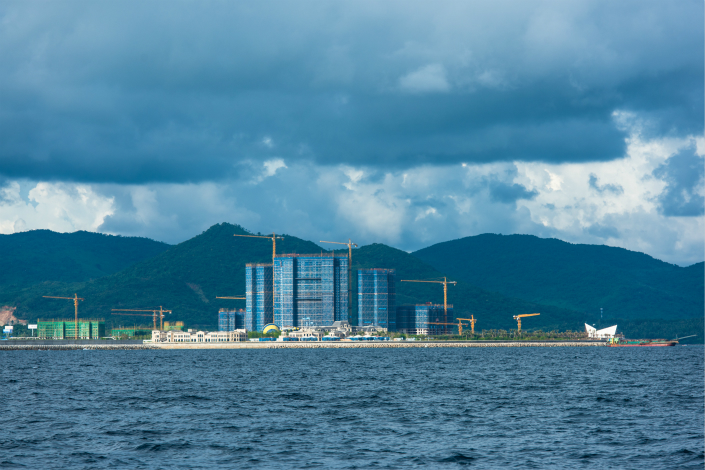 The pictured land reclamation project in Wanning, Hainan province, was initiated in 2015 without regional environmental and maritime authority approval. Work continued until inspectors arrived this year. Photo: Visual China