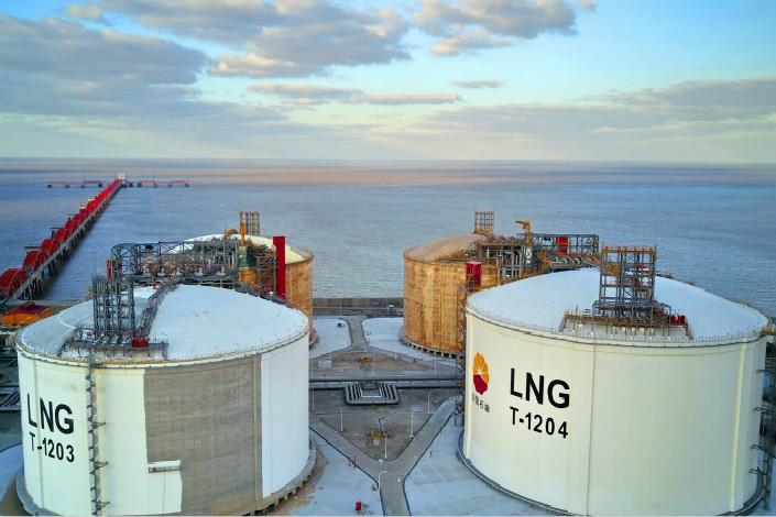 China's surging demand for liquefied natural gas (LNG) is partly why the LNG spot price has continuously grown in recent months..Above,  an LNG receiving station is seen in Nantong, Jiangsu province, on Nov. 4. Photo: Visual China