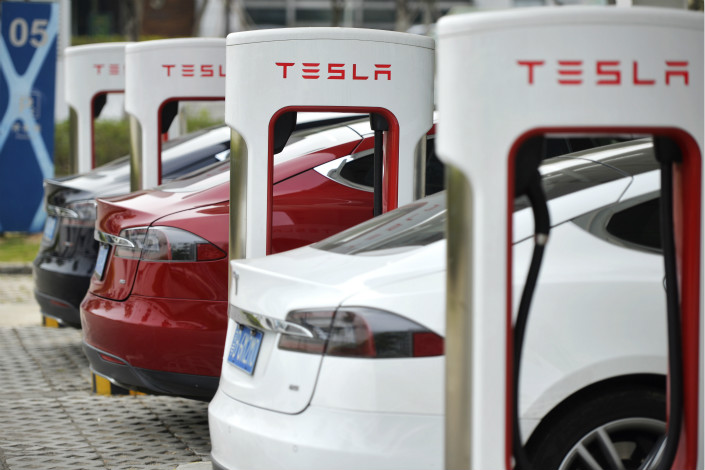 Tesla Inc. said it has set up a total of 168 charging stations in the country, which combined have over 1,000 chargers for the drivers of its vehicles. Photo: Visual China
