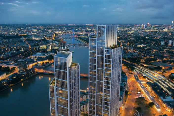 One Nine Elms overlooks the Thames River in London. Wanda's hotel arm has sold its majority stake in the property in a deal worth $250 million. Photo: Wanda Group