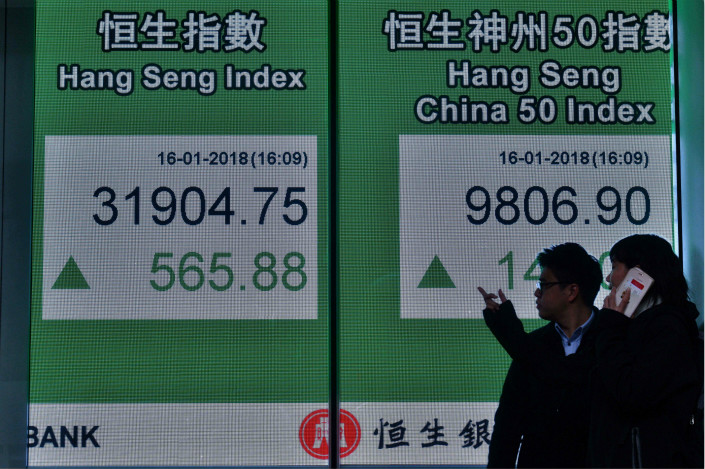 Hong Kong's benchmark Hang Seng Index rose 0.43% Thursday to finish the day at 32,121.94, marking the 17th gain in the last 18 sessions. Photo: Visual China