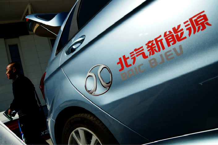 A BAIC Motor E150 new-energy vehicle is displayed in Tianjin. BAIC new-energy vehicle sales accounted for around 13% of the 777,000 units sold in China in 2007, according to data from the China Association of Automobile Manufacturers. Photo: Visual China