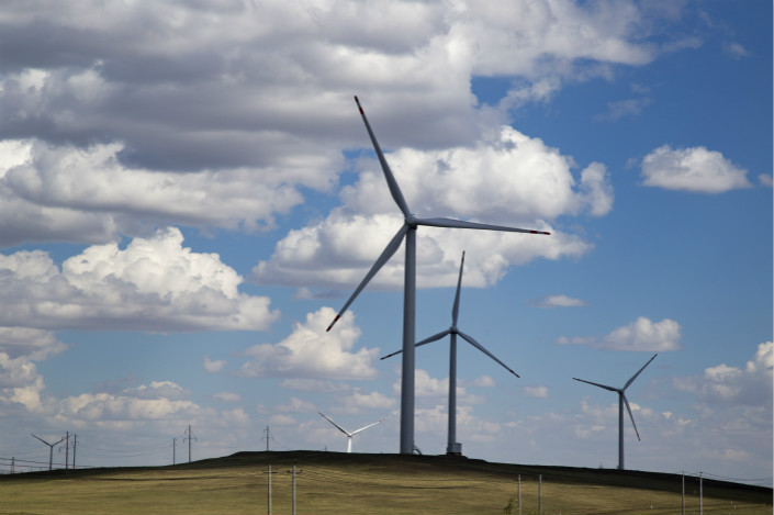 Wind turbines seen in the Inner Mongolia autonomous region on July 13. Chinese wind-turbine maker Sinovel Wind Group has been convicted of stealing technology from AMSC Corp. in the U.S. Photo: VCG
