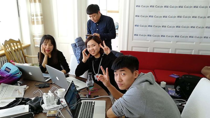 Caixin reporters working in our Davos, Switzerland, hotel room to bring the World Economic Forum to China and the world.