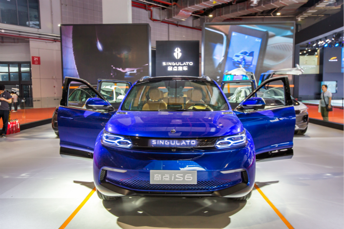 Singulato Motors, one of the four Chinese new-energy vehicle startups planning to launch their first mass-produced models this year, unveiled its all-electric iS6 SUV at an auto show in Shanghai on April 26. Photo: VCG