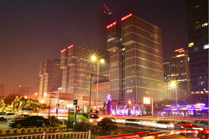 A view of the Beijing CBD Wanda Plaza, a commercial property owned by the Wanda Group. After bringing in strategic investors, Wanda's commercial property arm will cease developing property and instead focus on commercial management under the name Wanda Commercial Management Group. Photo: IC