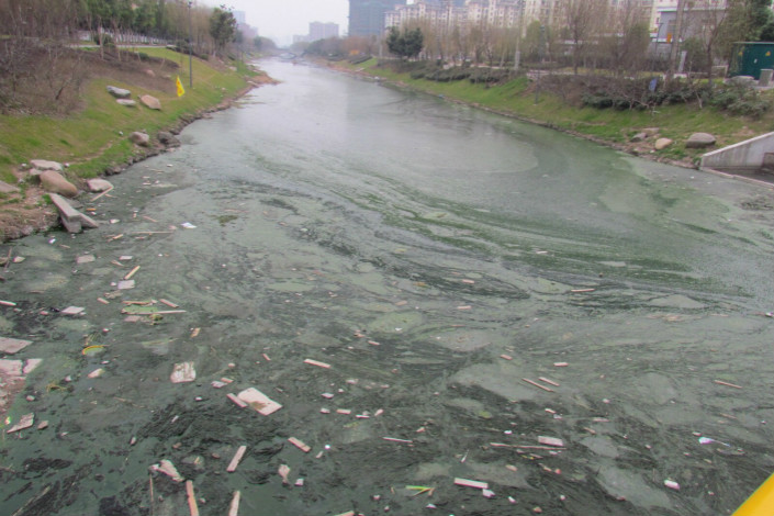A heavily polluted river flows through Nanjing in 2017. The liquids dumped by Wang contained hazardous chemicals including aniline, bromine, sulfide and silver, which combined can lead to physical deformities and cancer after a long period of exposure. Photo: VCG