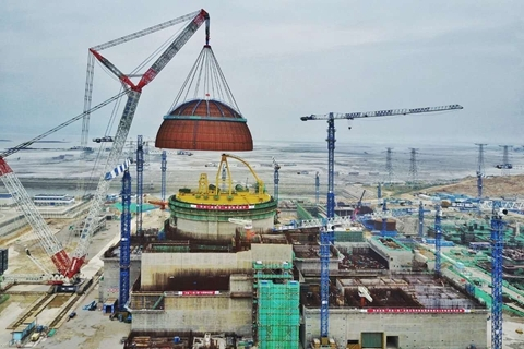 The merger of China National Nuclear Corp. and China Nuclear Engineering & Construction Corp. will create a new nuclear powerhouse with assets worth more than 600 billion yuan ($95.4 billion). Above: The construction site of CNNC's Fuqing nuclear power station in Fujian province. Photo: Visual China