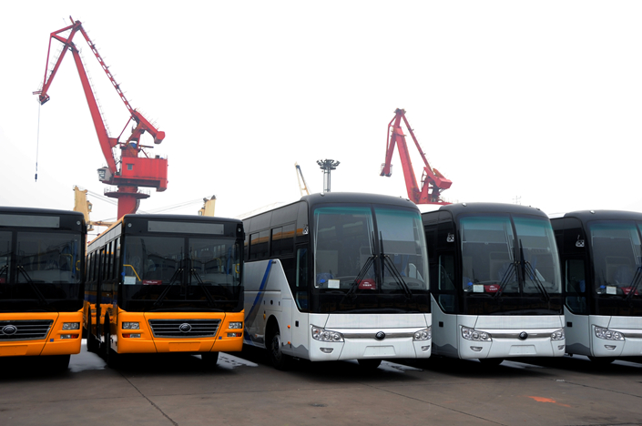 Chinese-made buses get ready to be shipped for export on Wednesday at a port in Lianyungang, Jiangsu province. Photo: VCG