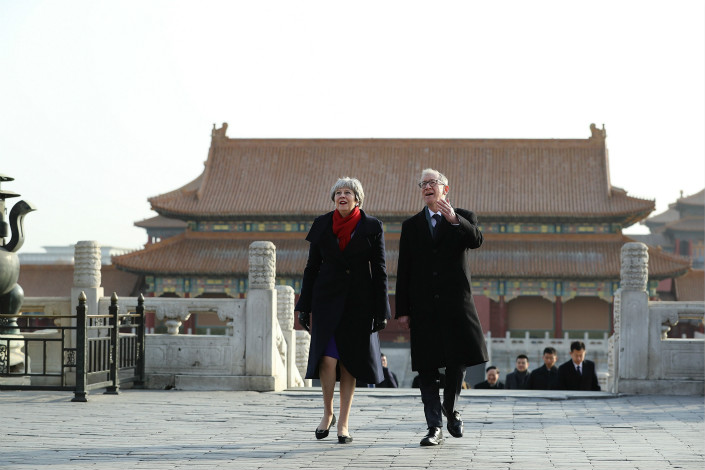 British Prime Minister Theresa May and husband Philip visit Beijing's Forbidden City on Thursday. In the Chinese capital, May met representatives from a council of 31 Chinese and British firms covering industries including finance, energy, cars, telecommunications and pharmaceuticals, according to China's Ministry of Commerce. Photo: VCG