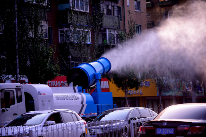 A mist cannon is seen in Shenyang, Liaoning province, on Sept. 30. Two recent incidents in Hunan province in which mist cannons were used to lower pollution readings are the latest in a string of scandals in which environmental protection workers were caught using deceptive tactics to improve their performance appraisals. Photo: VCG