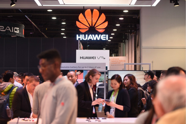 The Huawei booth at the 2018 CES technology trade show in Las Vegas. Huawei Technologies Co. Ltd. was founded in the 1990s by a former engineer from the People's Liberation Army, leading some to speculate it has government ties — something the company has repeatedly denied. Photo: VCG