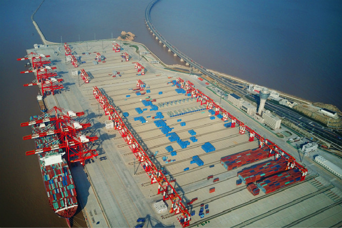An aerial view of the Yangshan Deep-Water Port, the world´s largest automated cargo wharf, which was build by China Communications Construction Co. (CCCC). If successfully completed, CCCC's planned acquisition of Aecon Group Inc. is set to bethe largest-ever investment by a Chinese company in Canada's transport and construction sector. Photo: IC