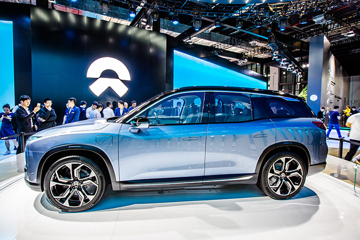 Electric car-makers Nio's first mass-produced SUV, the ES8, is unveiled at the Shanghai Auto Show in April 2017. Nio is backed by Tencent Holdings Ltd. and has raised about 15 billion yuan ($2.3 billion) in the course of five rounds of fundraising. Photo: VCG