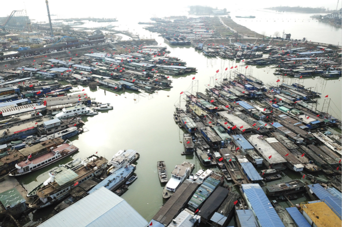 Thousands of fishing boats sit docked in East China's Jiangsu province on Feb. 16. China accounted for 17 million of the 40 million hours of fishing observed globally in 2016. Photo: VCG