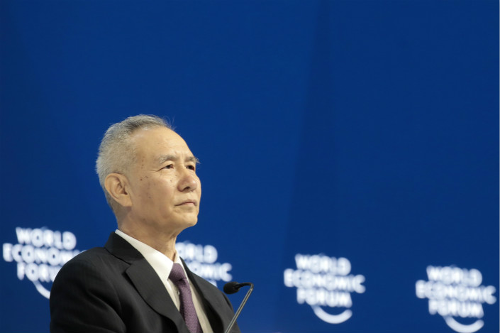 Liu He, director of a financial and economic affairs leading group of the Communist Party of China, at a special session of the World Economic Forum in Davos, Switzerland, on Jan. 24. Photo: VCG