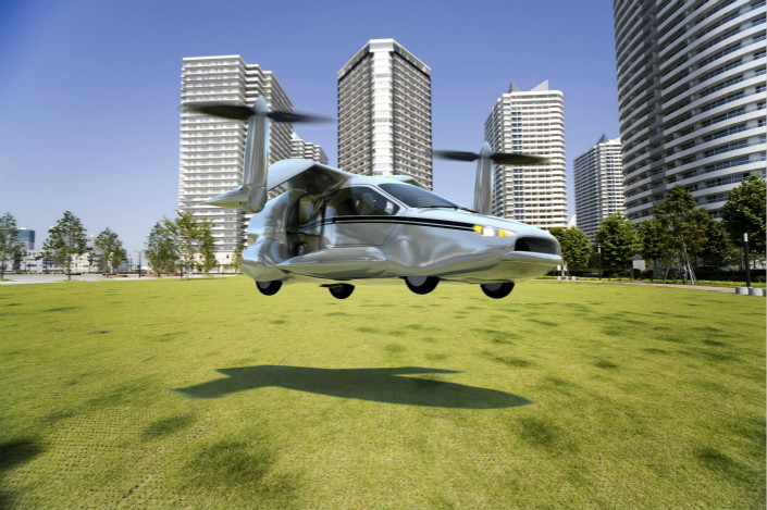 U.S. startup Terrafugia, which was acquired by Geely for an undisclosed sum in November, launched its 'Transition' flying vehicle (pictured). Now, as a unit of the Chinese carmaker, it will work on will work on flying-car technologies including engines, electrification, and big data. Photo: IC