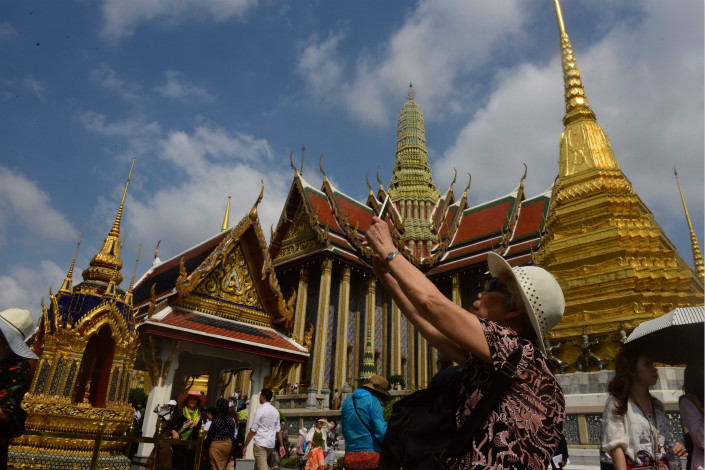 Chinese tourists visit Bangkok on March 10, 2017. The two most popular overseas destinations for Chinese tourists last year were Thailand and Japan, with 9.8 million and 7.4 million visitors respectively. Photo: VCG