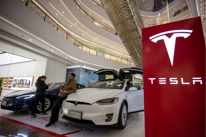 A Tesla electric car is displayed in a mall in Fuzhou, Fujian province on Feb. 2. Photo: VCG