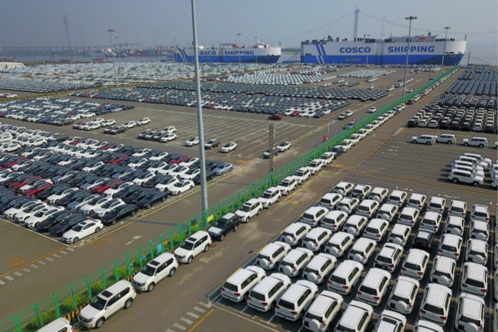 Imported cars are parked in Guangzhou's Nansha automobile port on Sept. 29. Photo: VCG