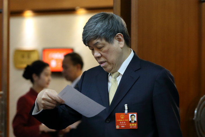 Lu Dongfu, general manager of China Railway Corp., attends the National People's Congress, the annual meeting of China's legislature on March 6. Photo: IC