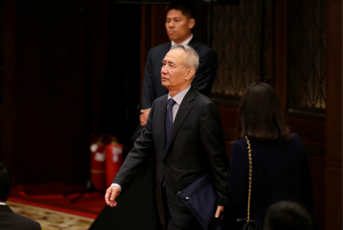 Liu He, vice chairman of the National Development and Reform Commission, arrives at a news conference held by President Xi Jinping in Beijing on May 15.  Photo: VCG