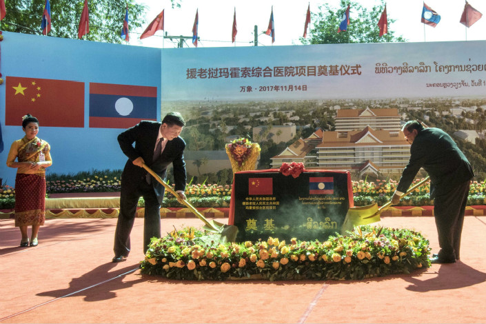 Chinese President Xi Jinping and Laos President Ben Yang participate in the groundbreaking ceremony for a hospital building in the capital of the Southeast Asian country. Photo: Xinhua