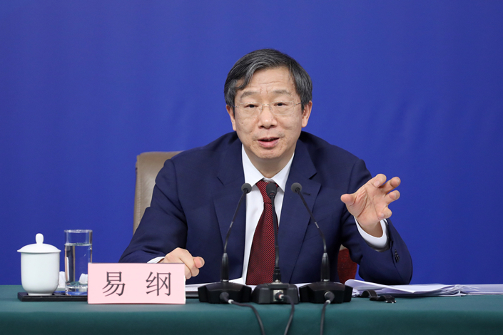 Yi Gang at a press conference on the sidelines of the National People's Congress on March 9. Photo: VCG