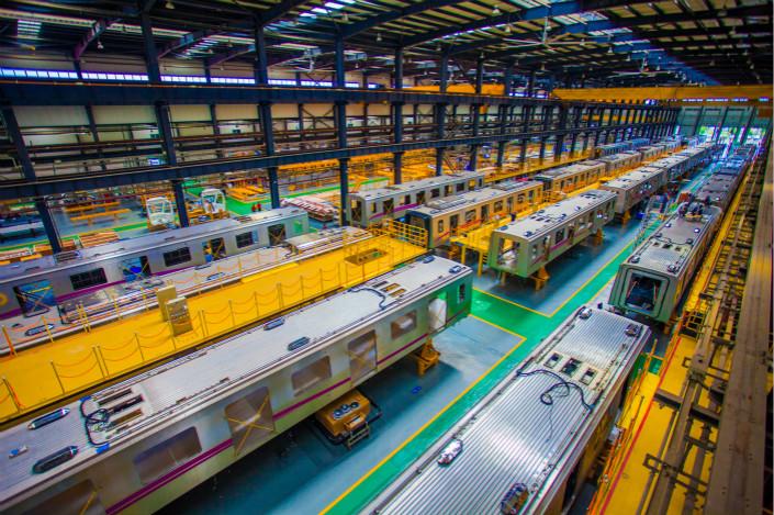 Train cars sit in a production workshop of Chengdu Zhongche Railway Vehicle Co. Ltd. in July. Photo: VCG