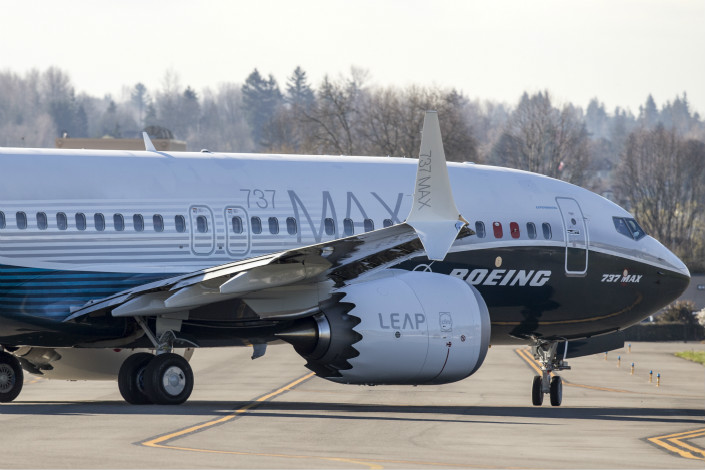 A Boeing 737 Max 7 taxis before takeoff at Renton Municipal Airport in Renton, Washington, on March 16. Photo: VCG