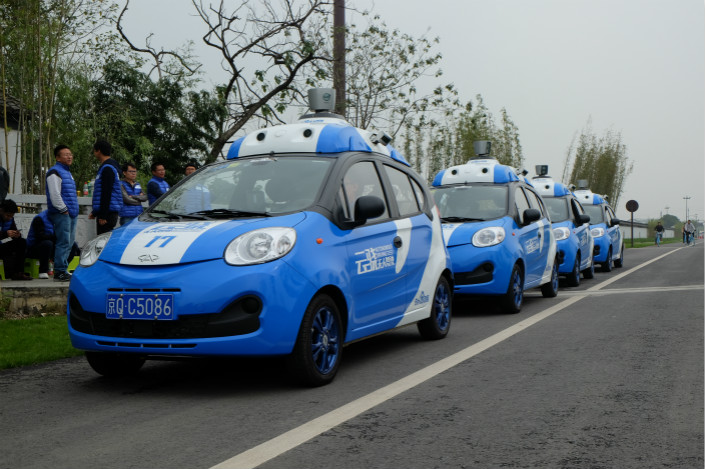 Baidu tests driverless cars in Jiaxing, East China's Zhejiang province, in October 2016. Photo: VCG