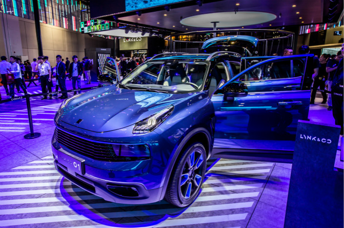 A Lynk & Co. automobile, made by Zhejiang Geely Holding Group Co. Ltd., is displayed at the 2017 Auto Shanghai auto show in April. Photo: VCG