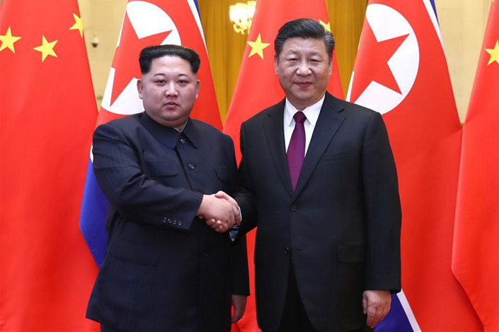 Chinese President Xi Jinping (right) meets with North Korean leader Kim Jong Un in Beijing during Kim's visit from Sunday to Wednesday. Photo: Xinhua