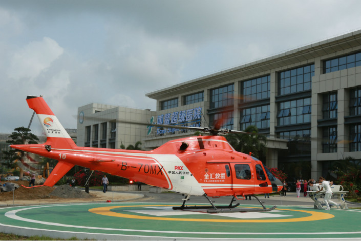 The Hainan Provincial Health and Family Planning Commission conducts a medical-rescue drill at the Boao Super Hospital on March 25. Photo: IC
