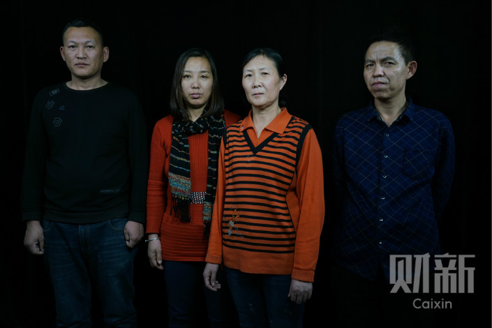 Four of the 11 people convicted of raping Tang Lanlan and forcing her into prostitution were in Beijing in January to petition over their claimed innocence. From left to right: Her uncle Tang Jibin, her mother Wan Xiuling, her aunt Tang Yumei and Liu Wanyou, former head of their village. Photo: Cai Yingli/Caixin
