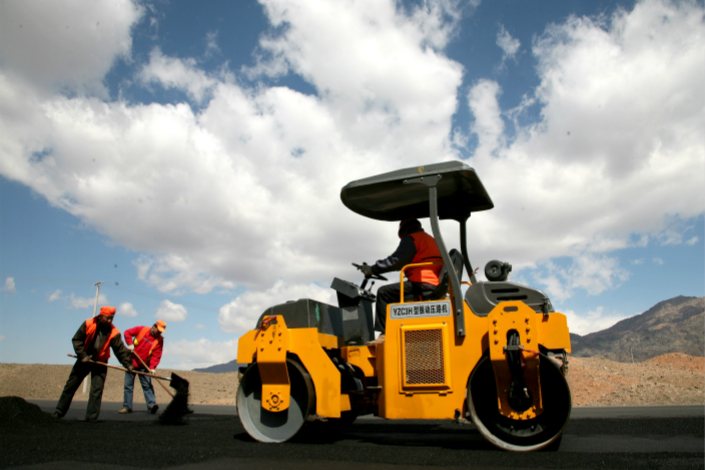 Highway construction takes place in Hami, the Xinjiang autonomous region, in July. Photo: VCG