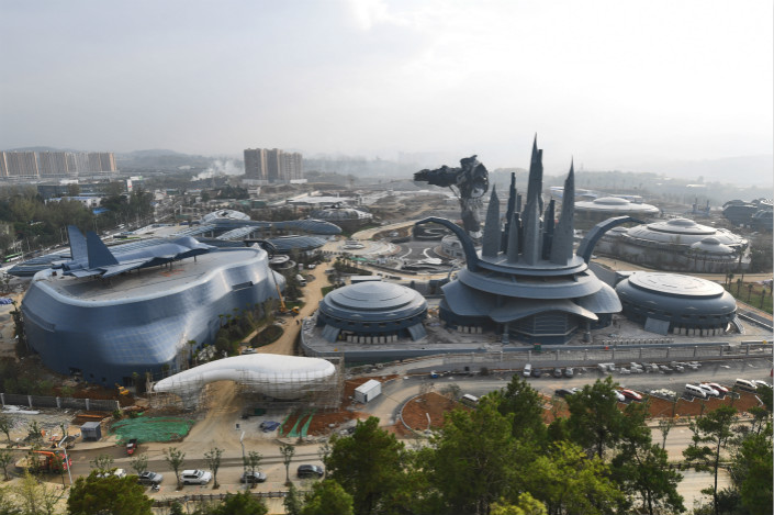 The construction site of East Valley of Science and Fantasy, a virtual-reality theme park, is seen in Guiyang, Guizhou province, on Oct. 26. Photo: IC