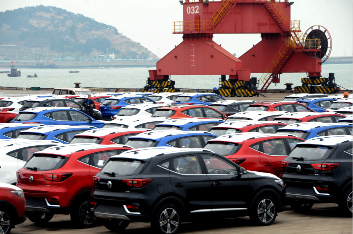 Cars await export in the port city of Lianyungang in East China's Jiangsu province. Photo: VCG
