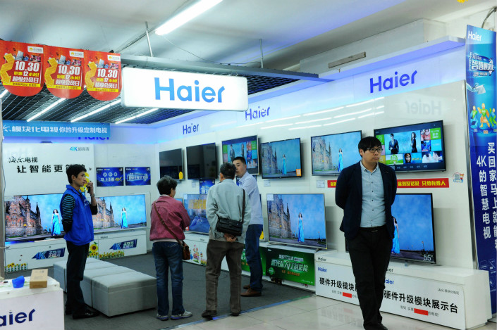 Haier televisions sit on sale at an appliance store in Qingdao, Shandong province, in October 2015. Photo: VCG