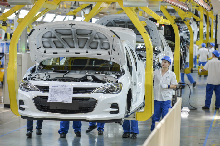 A General Motors production line in Wuhan, Hubei province. Photo: VCG