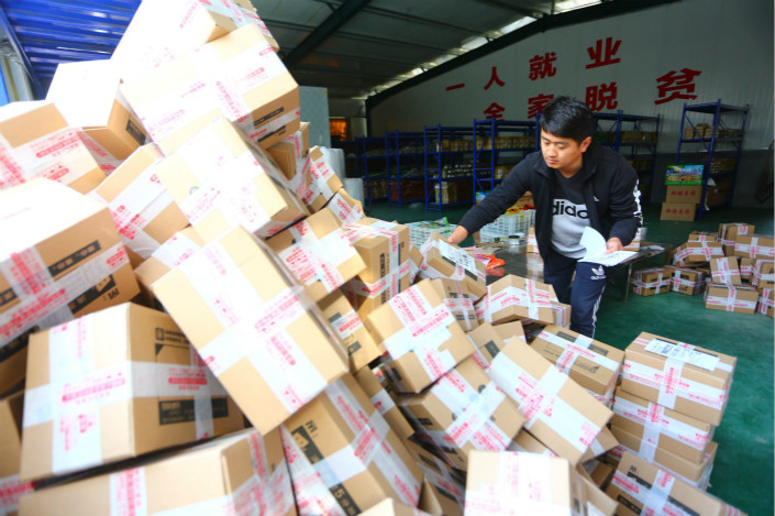 An e-commerce logistics center in a rural part of the Shandong province city of Zaozhuang. Photo: VCG