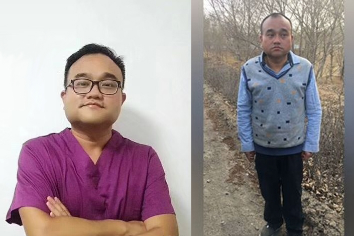 Photographs of Tan Qindong from before (left) and after he was detained for nearly 100 days by Inner Mongolia police.