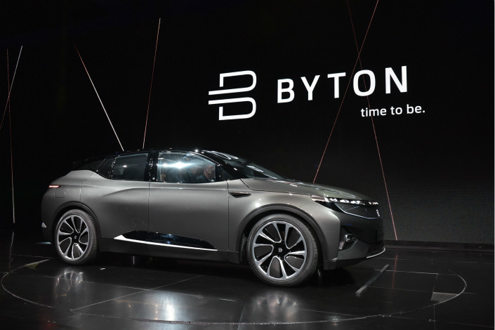 A Byton prototype SUV is seen at at the Consumer Electronic Show 2018 in Las Vegas on Jan. 7. Photo: VCG