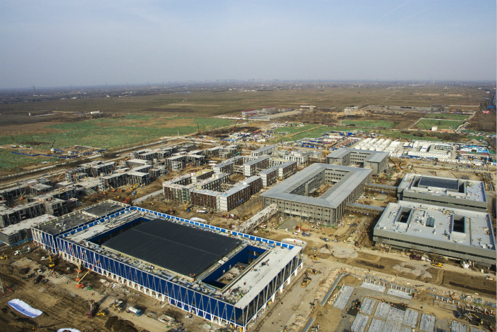 The Xiongan New Area's completed public service center project, the zone's first major construction project, is seen on March 19. Photo: VCG