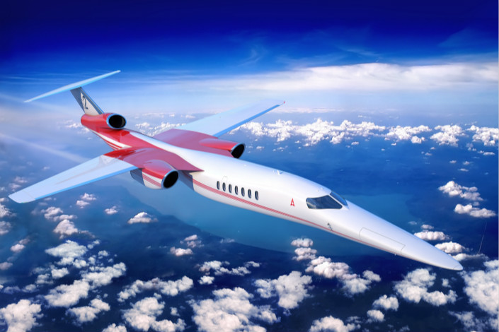 An artist's rendering shows a proposed jetliner of Colorado-based Boom Technology, which is trying to revive supersonic commercial travel after an absence of 15 years. Photo: IC