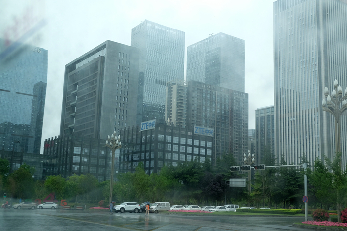 A ZTE office building in Chengdu, Southwest China's Sichuan province on a rainy day on April 24. Photo: Wu Gang/ Caixin