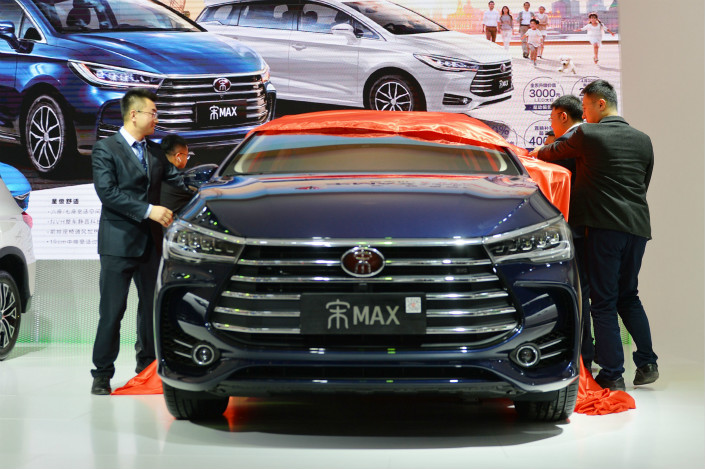 BYD's Song MAX 6 model is promoted at the Qingdao International Auto Show on April 26.Photo: VCG