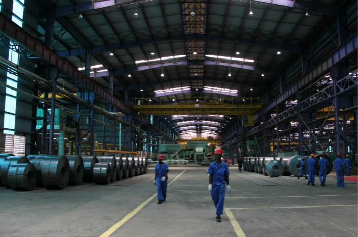 Chinese investment in Africa includes this Nigerian mill that makes cold-rolled steel. Photo: VCG