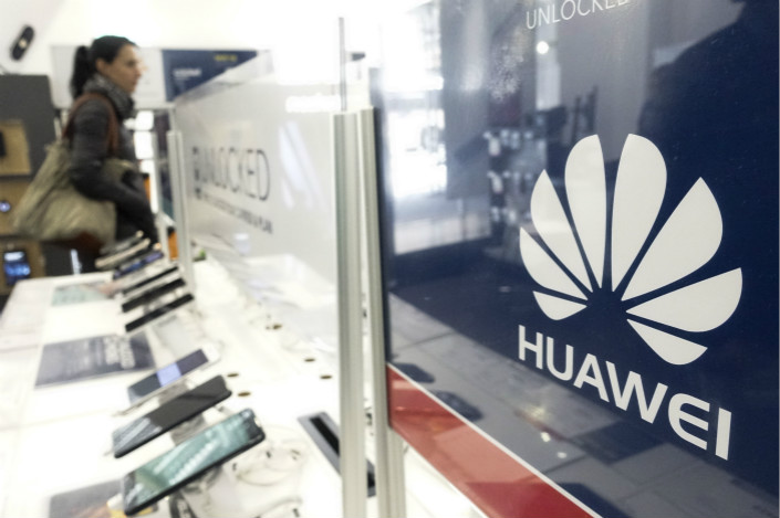 Huawei mobile phones sit on display at an electronics store in New York on April 26. Photo: VCG