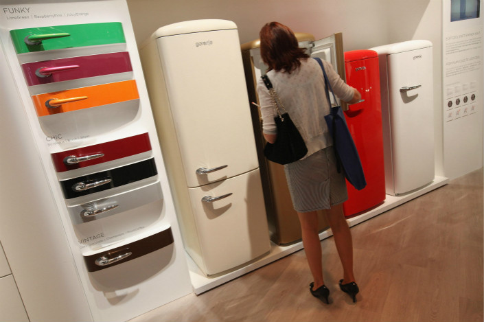 Gorenje retro-style refrigerators are displayed at the IFA 2011 consumer electronics show in Berlin in September 2011. Photo: VCG